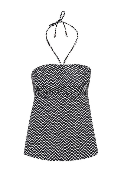 Bandeau Lattice Tankini Top in Chevron Print - FUNFIT