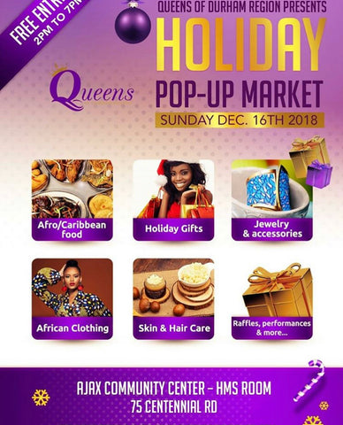 We will be at the QUEENS OF DURHAM HOLIDAY POP UP MARKET on December 16th, 2018 OUT LAST SHOW FOR 2018! ☺️