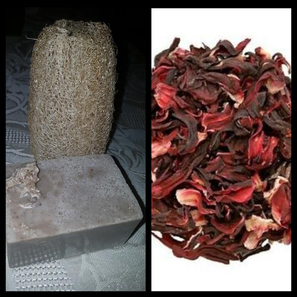 HIBISCUS LOOFAH SOAP...A GREAT EXFOLIATANT AND SKIN REJUVENATOR