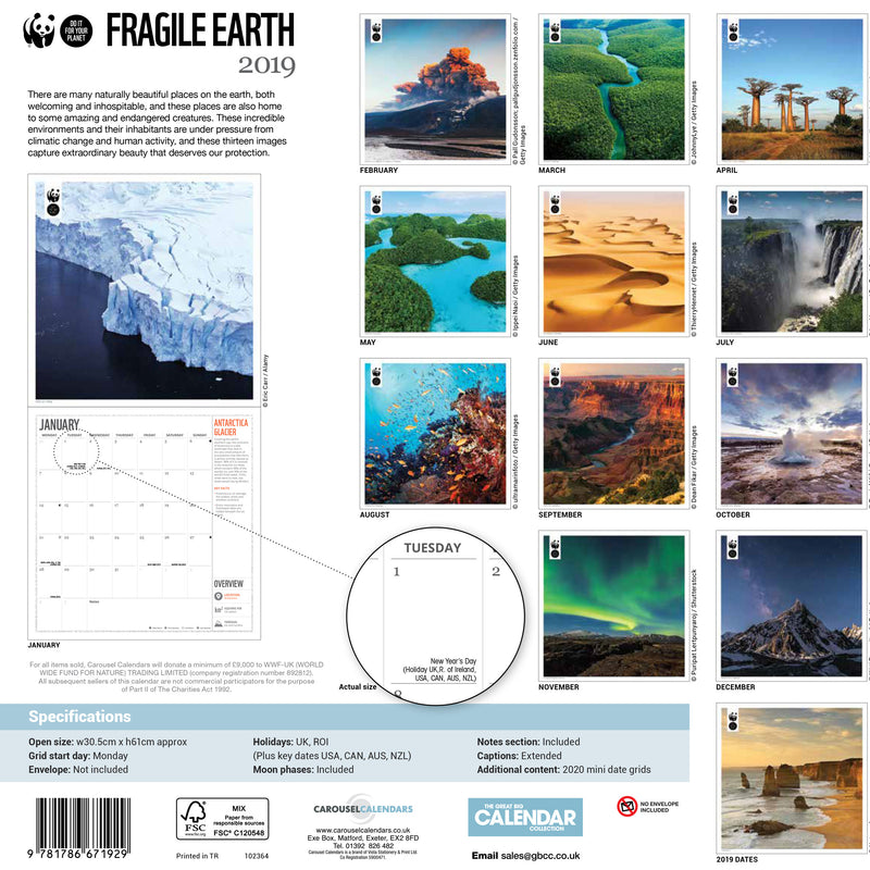 Fragile Earth Wall Calendar 2019