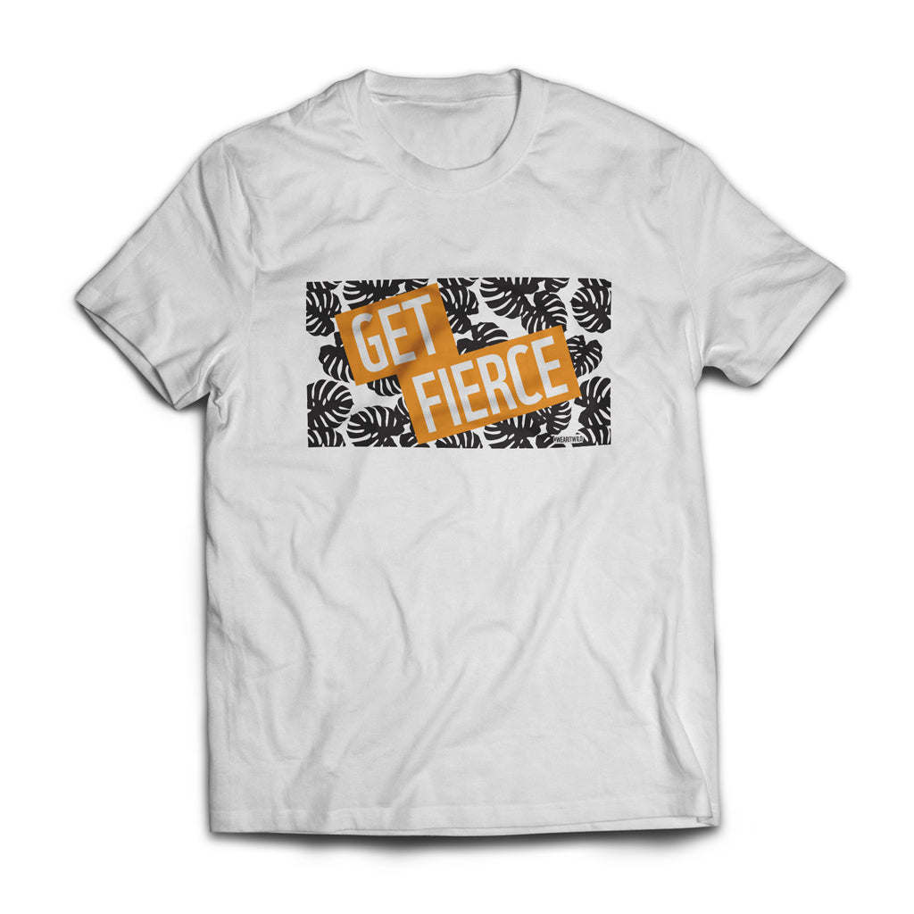 Get Fierce Leaf Print Orange T-Shirt