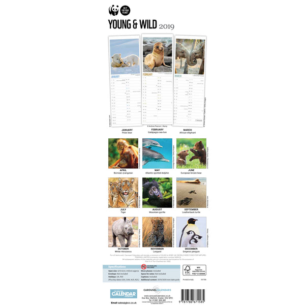 Young and Wild Slim Calendar 2019