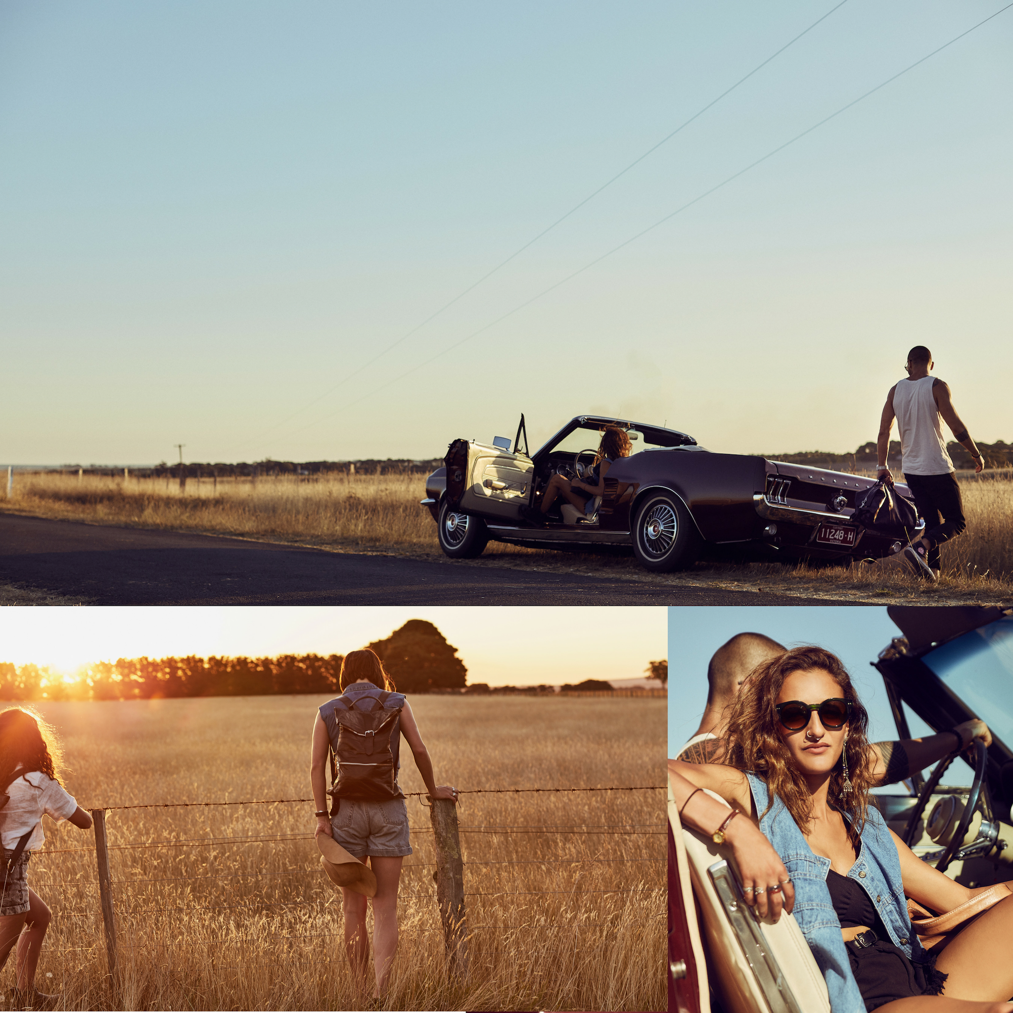 Mustang convertible in Australian outback, Two girls walking into the sunset, girl sitting in car all featuring vegetable tanned leather bags