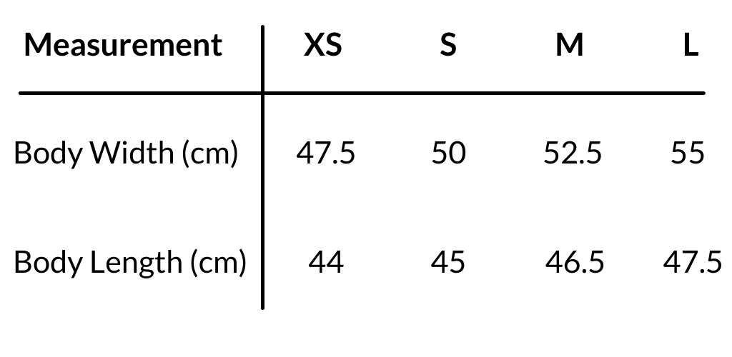 Sizing chart for Lost Little One crop tees