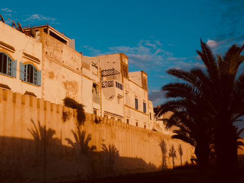 Old city walls of Essaouira Morocco during sunset. Palm trees thriving and the blue skies falling
