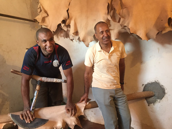 Men in the Moroccan tannery in Marrakech