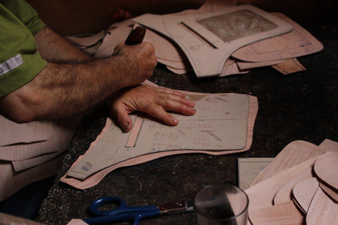 ethically handmade in Morocco here is our Moroccan leather artisan working in his workshop
