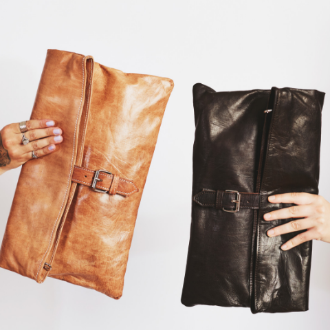 Handmade Moroccan leather bags and clutches