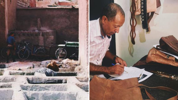 Made in Marrakech, leather artisans working in the leather tannery