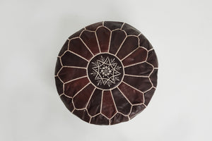 DARK BROWN LEATHER POUFS - LOST LITTLE ONE