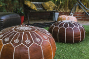 VINTAGE BROWN LEATHER POUFS - LOST LITTLE ONE