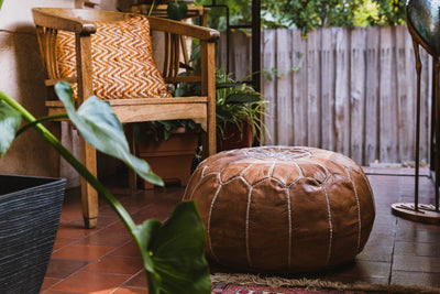 TAN LEATHER POUFS - LOST LITTLE ONE