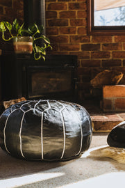BLACK LEATHER POUFS - LOST LITTLE ONE