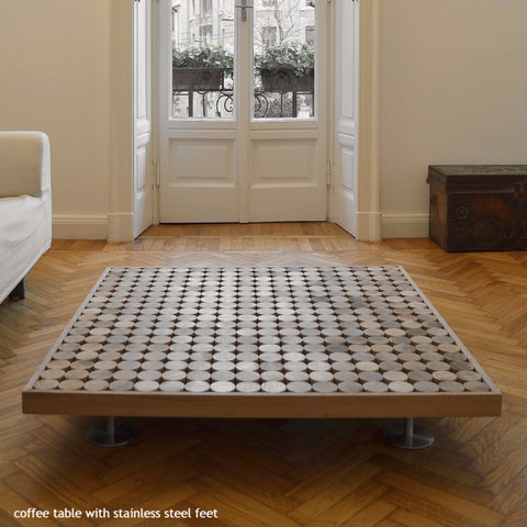 coffee table with stainless steel feet