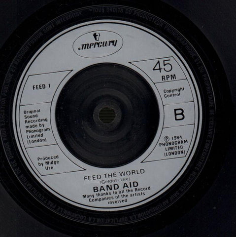 "Band Aid-Do They Know It's Christmas / Feed The World-Mercury-7"" Vinyl-VG/VG"