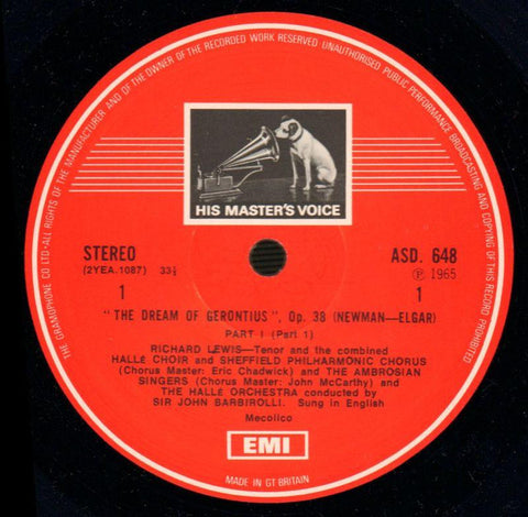 "The Dream Of Gerontius John Barbirolli-HMV-2x12"" Vinyl LP Box Set-VG/NM"