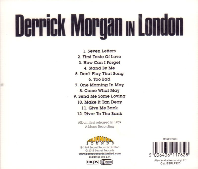 Derrick Morgan In London-Burning Sounds-CD Album-New & Sealed