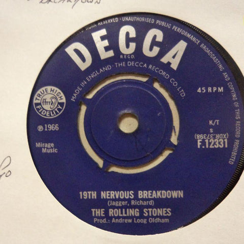 "Rolling Stones-19th Nervous Breakdown/ As Tears Go By-Decca-7"" Vinyl"