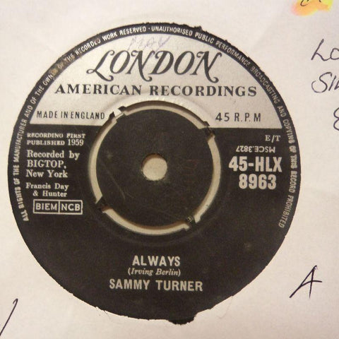 "Sammy Turner-Always/ Symphony-London-7"" Vinyl"