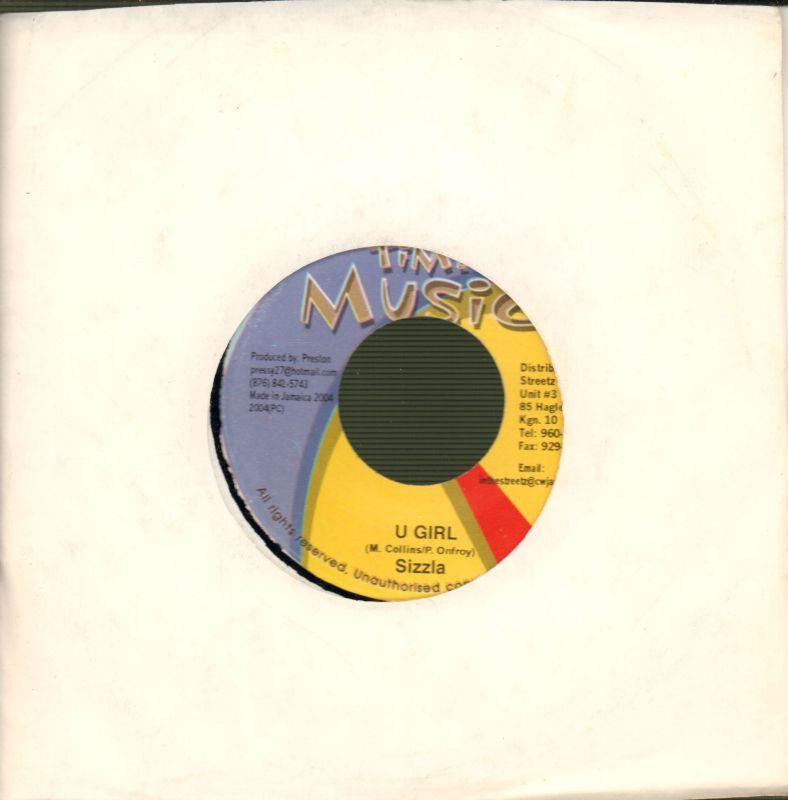 "Sizzla-U Girl-In Time Music-7"" Vinyl"