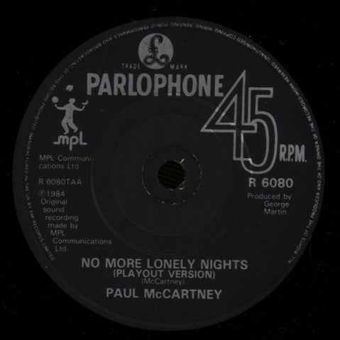 "No More Lonely Nights-Parlophone-7"" Vinyl P/S-VG/Ex"