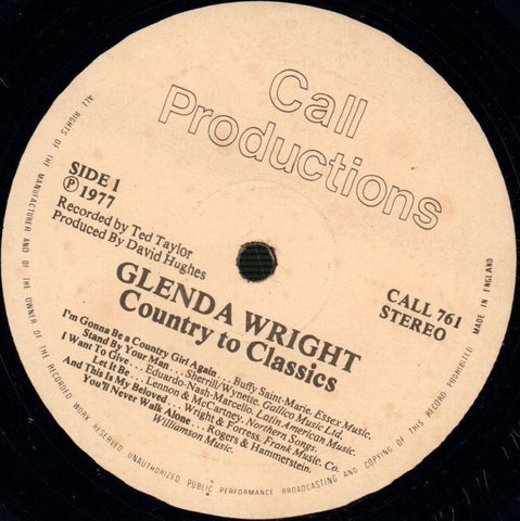 Glenda Wright-Country To Classics-Call-Vinyl LP-VG/VG+