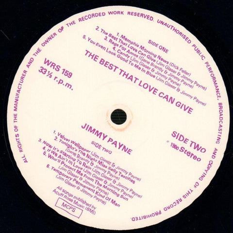 Jimmy Payne-The Best That Love Can Give-Westwood-Vinyl LP-VG/Ex