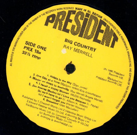 Big Country-President-Vinyl LP-Ex/Ex