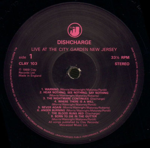 Discharge-Live At The City Garden-Clay-Vinyl LP Gatefold-VG/NM