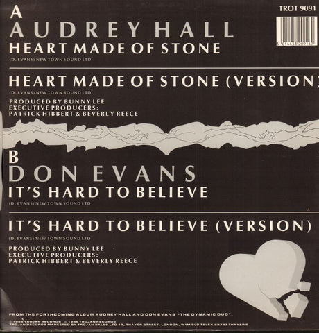 "Audrey Hall-Heart Made Of Stone-Trojan-12"" Vinyl P/S-M/M"