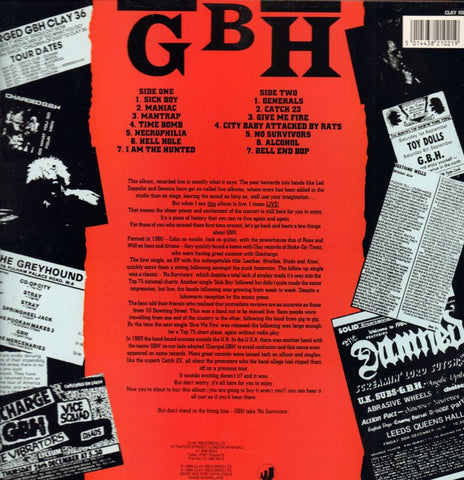 G.B.H.-No Survivors-Clay-Vinyl LP-M/M