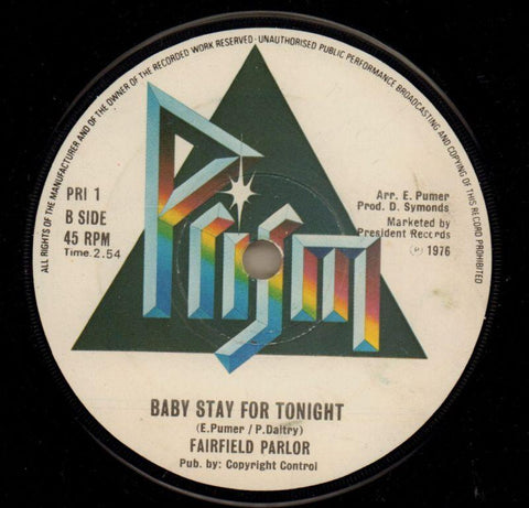"Bordeaux Rose/ Baby Stay For Tonight-Prism-7"" Vinyl-Ex/VG"