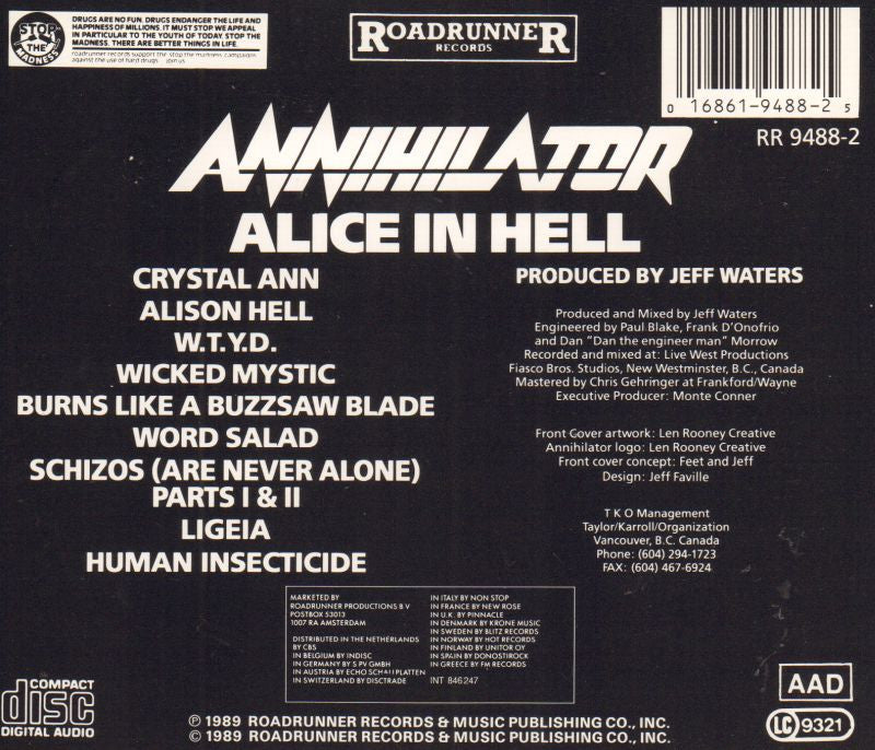 Alice In Hell-CD Album-Very Good
