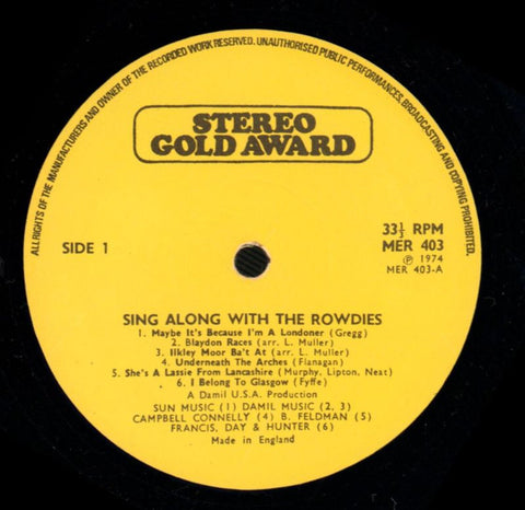 The Rowdies-Sing Along With-Stereo Gold Awards-Vinyl LP-VG/VG