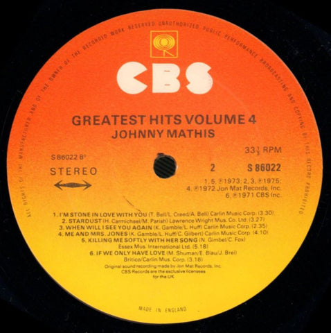 Johnny Mathis-Greatest Hits Volume Four-CBS-Vinyl LP-VG/Ex