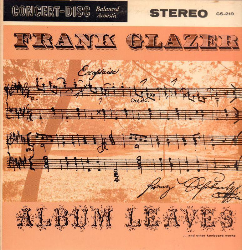 Frank Glazer-Plays Musical Autographs-Concert Disc-Vinyl LP