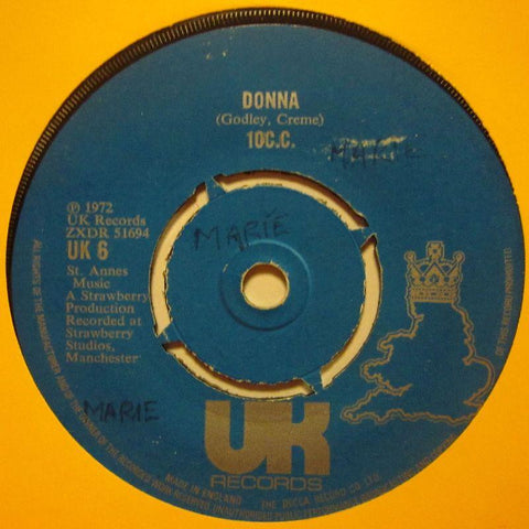 "10CC-Donna-UK Records-7"" Vinyl"