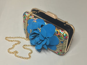 "Vintage Embroidered Multi-Colored Clutch With Hand-Made Blue-Teal Suede Flower And Tassel Chased By Tiny Golden Bumblebees. Dimensions - Height 5.5""; Length 7.5""; Depth 2""; Chain 26"""
