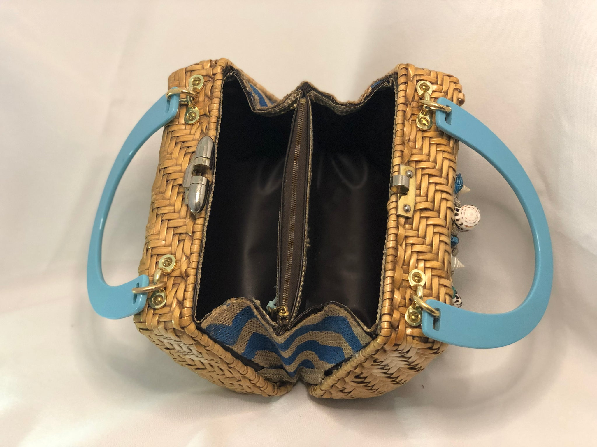"1960's Lewis Vintage Tan Natural Straw Purse, White Sand Dollar With Multi-Colored Shell Motif On Front. White Starfishes on Back. Blue/Tan Side Lining, Two Compartments With Tan French Trim. Golden Brass Hardware, Teal-Blue Lucite Handles. Dimensions - Height 7""; Length 8.5""; Depth 5""; Handle 5"""