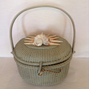"Ready for Nantucket, this pale green straw basket with unusual shell motif will travel with you all summer.  Dimensions - Height 8""; Width 9 1/2"";  Length 11 1/2""; Depth 6"""