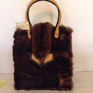 Vintage Bright Yellow Furla Purse Adorned With Real Brown Mink And Mink Head Closure