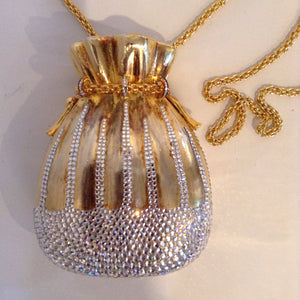 "Vintage Judith Lieber ""Tassels and Bows"" evening bag with Swarovski crystal. Rare and collectible.  Dimensions - Height 5 1/2""; Width 4 1/4""; Chain 20""; Depth 2 1/2"""