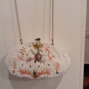 1940's White Beaded Purse With Light Pink/ Yellow Designs And Detachable Necklace/ Lavalier