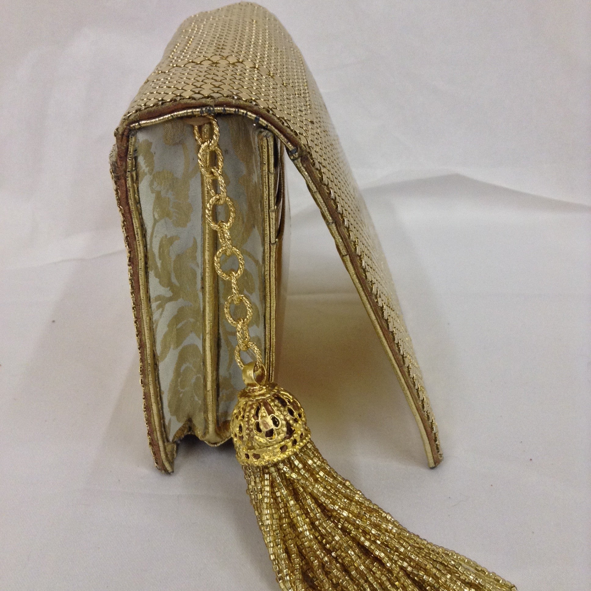 "Golden mesh clutch, classic vintage Whiting and Davis with fabulous beaded tassel. Dimensions - Height 5""; Width 5 1/2""; Length 5 1/2""; Depth 1 3/4"""