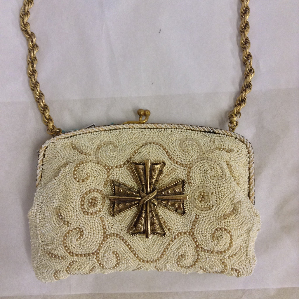 Vintage hand-beaded purse, hallmarked Czecho-Slovakia 1937. Winter white and taupe micro-beading adorned with a fantastic Maltese cross.