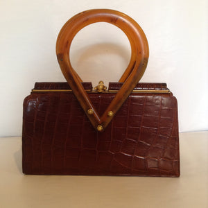 Vintage Caramel Brown Crocodile Purse With Unusual Shaped Light Brown Lucite Handles And Vintage Golden Brass Hardware