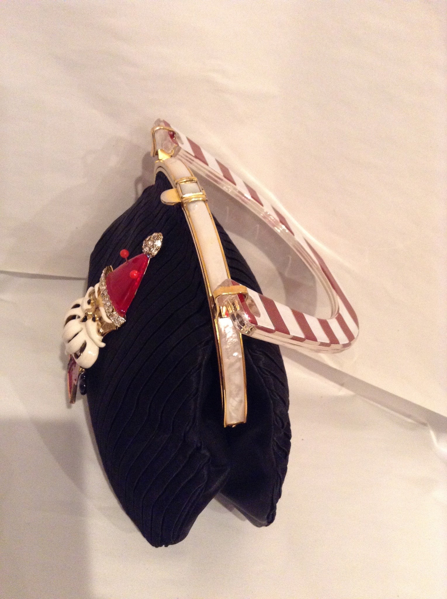 Koret Vintage Black Pleated Satin X-MAS Purse, Moving Vintage Enamel Santa, Lucite Candy Cane Handle