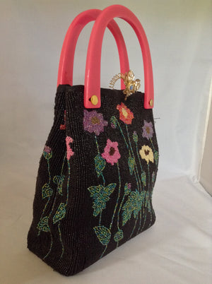 Black Beaded Vintage Purse With Multi-Colored Flowers, Golden Bee, Pink Lucite Handles