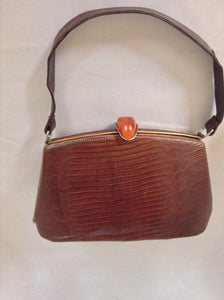 Vintage Chocolate Brown Lizard Purse With Amber Lucite Clasp