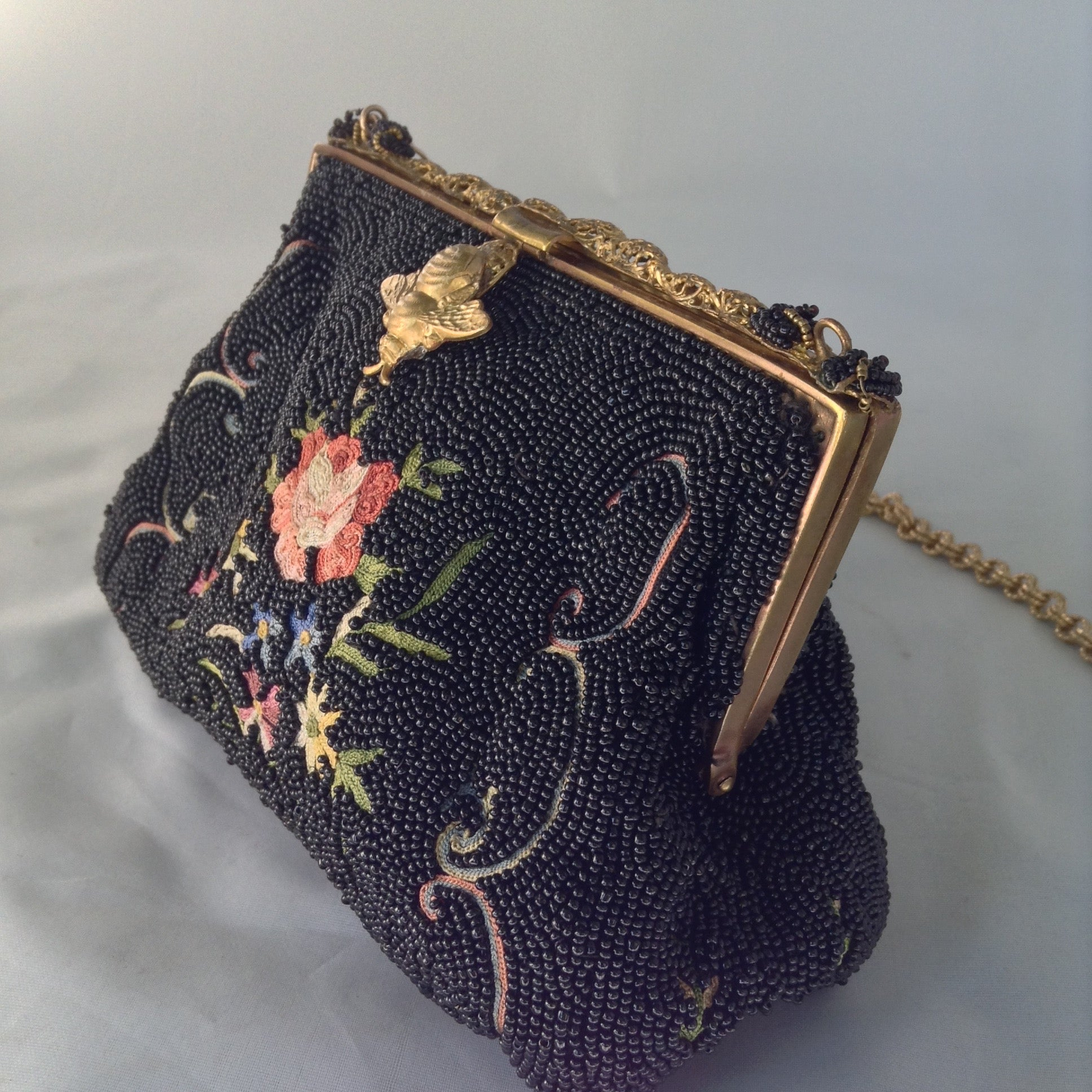 1930's French, Black Hand-Beaded Evening Purse, Petit-Point Multi-Colored Hand-Embroidered Flowers, Golden Bee